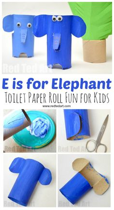 E is for Elephant. Adorable Toilet Paper Roll Elephant #craft for preschool. Explore the A-Z Alphabet with Animal Toilet Roll Crafts #toiletpaperrolls #toiletrolls #elephants #preschool #preschoolcraft #kidscraft