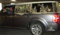 art drawn in the dirt on car windows