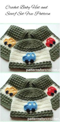 crochet kids hat and scarf set