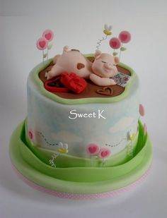 Dreaming of you cake - by Karla (Sweet K) Pretty Cakes, Cute Cakes, Yummy Cakes, Fondant Cakes, Cupcake Cakes, Piggy Cake, Pig Birthday Cakes, Farm Cake, Animal Cakes