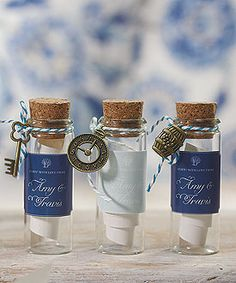 Mini Clear Glass Bottle with Cork from Weddingstar. {gift, give, #favor/favour, wedding favor/favour, note in a bottle, ocean, sea, theme wedding, under the sea, nautical, DIY favour/favor, craft supplies}