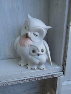 hiboux Vintage, hibou de mère et bébé, blanc hibou, hibou en céramique, statue de hibou, chouette, figurine, amant de la chouette, hibou mignon, chouette bébé, eighties, rétro cadeau