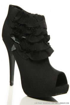 Image detail for -features denim fabric ankle bootie style peep toe front ruffle decor ...