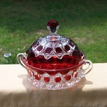 EAPG Red Block Beveled Buttons Ruby Stained Covered Butter Dish