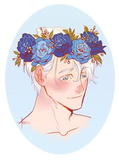 Victor from Yuri on Ice Flower Crown Drawing, Flower Girl Crown, Flower Crowns, Drawing Flowers, Anime Manga, Anime Art, Anime Boys, Boy Tumblr, Tumblr Flower