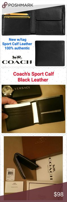 "NEW Coach Coin Wallet, Sport Calf Leather * NEW w/tag, guaranteed authentic  * Coach Coin Wallet in Sport Calf Leather  * Color:  Black  * Style F75003, retail  $165 * 4 credit card slots * 2 multi-function pockets  * Full-length bill compartment * Snap coin pocket  * Size: 4 1/8""L x 3 5/8""H closed * Non-smoking home of Aurora33180  * I will include a standard Coach box as seen in photo #3 based on availability. Coach Bags Wallets"