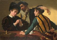 """The Cardsharps Caravaggio c. 1595  In """"The Cardsharps"""", no party can see or know everything they might wish to. The scene is constructed as a circuit of knowledge and ignorance, trust and deceit. The Cardsharps spawned countless imitations. Plus, obviously, the dogs playing poker series of paintings."""