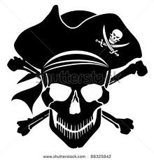 Halloween: Pirate Skull Captain with Hat and Cross Bones Clipart Illustration Tatto Skull, Skull Art, Silhouette Cameo, Silhouette Projects, Disney Fantasy, Pirate Clip Art, Pirate Images, Bateau Pirate, Pirate Skull