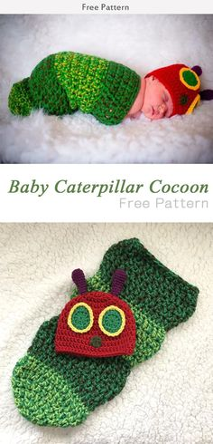 Baby Caterpillar Cocoon Crochet Free Pattern #Freepattern #Crochet Crochet Baby Props, Free Baby Crochet Patterns, Crochet Baby Cocoon Pattern, Crochet Baby Costumes, Newborn Crochet, Crochet For Boys, Crochet Baby Clothes, Crochet Bebe, Crochet Baby Outfits