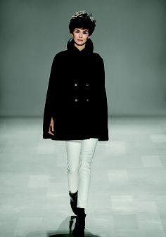 You shall be mine Joe Fresh Fall '13 runway--a black cape looks modern over skinny white pants