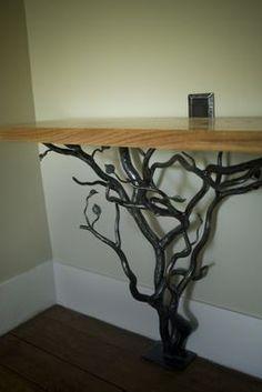 Custom Made Hand Forged Tree Hall Table