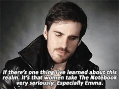 "happilycaptainswan: ""On this episode of Real Husbands of Storybrooke: Emma really loves The Notebook, okay?"" Click the image for more."