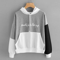 Sweatshirt Fashion Women Letters Long Sleeve Hoodie Sweatshirt Hooded Pullover Tops Aaglione Maglione di moda Gray S Mode Outfits, Fashion Outfits, Women's Fashion, Fashion Women, Fashion Shirts, Fashion Trends, Cheap Hoodies, Hooded Sweatshirts, Sweatshirts Vintage