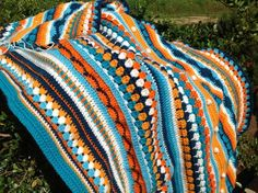 Mixed stitch striped blanket (no pattern)