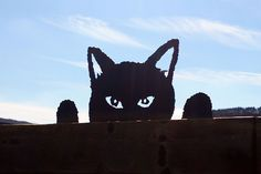 Black Cat Fence Topper Silhouette Hand Made Metal Garden Ornament | eBay