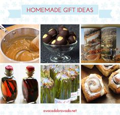 homemade gift ideas / maple cream / buckeyes / personalized photo book / vanilla extract / infused olive oil / cinnamon rolls // photo credit: america's test kitchen, smitten kitchen, simply recipes, the kitchn, epicurious