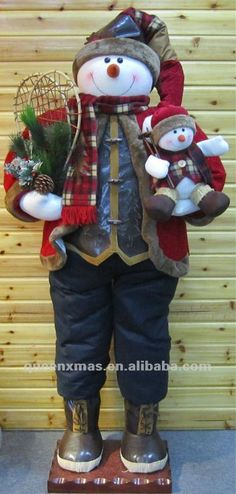 Wooden Snowman for Outside | Large standing snowman outdoor christmas decoration