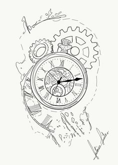 24 Best Ideas for drawing tattoo design inspiration tatoo Watch Tattoos, Time Tattoos, Leg Tattoos, Pocket Watch Drawing, Time Piece Tattoo, Desenho Tattoo, Tattoo Project, Tattoo Stencils, Compass Tattoo