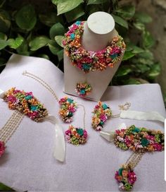 Yellow,pink,orange,green,torque multicolored Gotta Patti Flower Bridal Jewelry Necklace,Earrings,Maang Tika,Bracelet attached Rings 6 Pc Set
