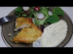 Snitele de pui in crusta de cartofi cu piure de telina - YouTube