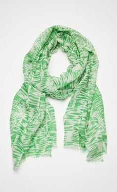light, green and white stripped Nepali scarf
