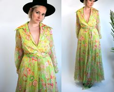 Vintage 70's Sheer Flower Print Maxi Dress in Green Long Sleeved with Matching Belt Women's Size Large Retro/Hippie/Boho by thiefislandvintage on Etsy