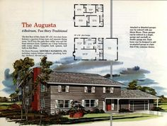 See 125 vintage '60s home plans used to design & build millions of mid-century houses across America Building Design, Building A House, 1960s House, Brick Siding, Vertical Siding, Two Story Homes, Level Homes, Garage House, Spacious Living Room