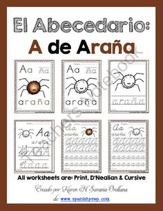 "Spanish Alphabet Handwriting Practice & Posters: ""A de Ara�a"" from KarenSaravia on TeachersNotebook.com -  (18 pages)  - Spanish Alphabet Handwriting Practice & Posters: ""A de Asno"""