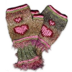 Hand Knitted Fingerless Mittens - Pink Hearts, Paradis Terrestre - Quality Greeting Cards, Gifts, Hand Knits, Luxury Christmas Decorations, Luxury British Made Accessories and Homeware