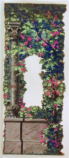 Blühender Garten mit Mauer und Säule / Zaun mit Spalier und blühendem Flieder