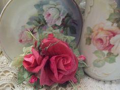 (PRA1) Victorian Paper Rose Clip Lamp Decor Chic n Shabby