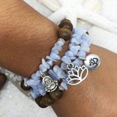 Wood & Blue Lace Agate Stretch Bracelets - 3 pc set