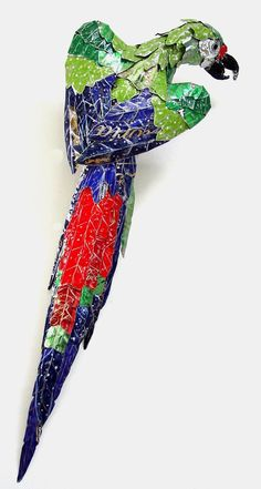 """""""Green wing Macaw"""" Made from Recycled Metal Scraps by Barbara Franc"""