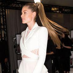 Wrap around sleek high #ponytail at #Balmain #Spring2016 #PFW. #SS16