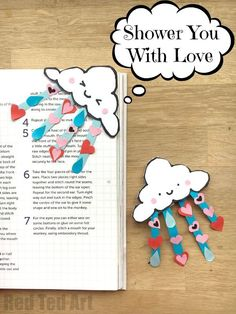 """""""Shower You With Love"""" Valentines Corner Bookmark - Red Ted Art's Blog"""
