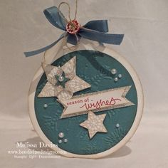 Bee Divine Designs - Used the scalloped tag topper to make the fancy top of the bauble - love how you can use the big shot framelits and tag topper to create it all in one piece. Cased from pinterest.