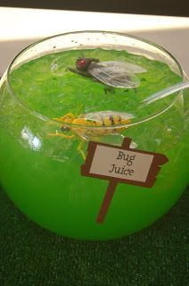 Bug Juice punch : Mix a yellow drink (i.e. Squirt or lemonade) with a blue one (kool-aid). You'll end up with a nice buggy shade of green. For fun you may want to add some gummy worm ice cubes or float bugs in the bowl.