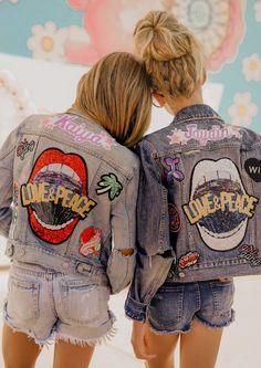 Baby Denim Jacket, Denim Jacket Patches, Back Patches For Jackets, Custom Denim Jackets, Military Inspired Fashion, Diy Clothes Design, Preteen Girls Fashion, Cute Jackets, Jeans