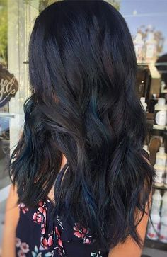 Black Hair With Blue Highlights, Hair Color For Black Hair, Dark Hair With Blue, Highlights In Black Hair, Black Hair With Lowlights, Blue Black Hair Color, Dark Blue, Chunky Highlights, Caramel Highlights