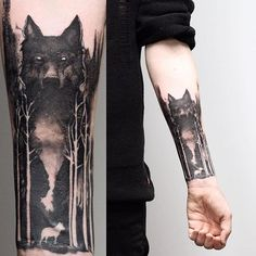 wolf tattoo design - 100 Forest Tattoo Designs For Men Masculine Tree Ink Ideas Wolf Tattoos Men, Tattoos For Women, Tattoos For Guys, Tattoo Wolf, Animal Tattoos, Tattoo Arm, Tattoos Of Wolves, Tree Sleeve Tattoos, Wolf Pack Tattoo