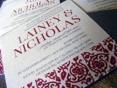burgundy, gray, silver wedding invitations