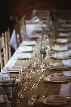 Wedding tables with hessian table runner // sarah brittain edwards photography // the natural. vickie and liam's rustic country barn