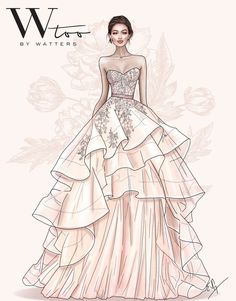 Meet the New Wedding Dresses You'll Soon Be Dying to Wear at Your 2019 Wedding Gown Drawing, Dress Design Drawing, Dress Design Sketches, Fashion Design Sketchbook, Fashion Design Drawings, Wedding Dress Illustrations, Wedding Dress Sketches, New Wedding Dresses, Black Prom Dresses