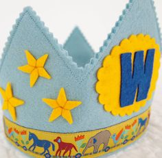 blue waldorf felt birthday crown for boys  stars and moon by mosey, $32.00