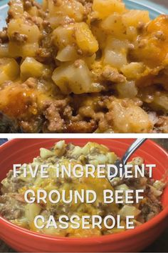 Ground Beef Casserole is a budget-friendly and easy dinner recipe for the entire family. With five ingredients, your dinner will be ready in a little more than an hour. Plus, this feeds our family of four and we still have leftovers. Ground Beef Recipes For Dinner, Dinner With Ground Beef, Dinner Recipes Easy Quick, Quick Easy Meals, Recipes Dinner, Easy Dinners, Ground Beef Crockpot Recipes, Ground Beef Dishes, Crockpot Recipes With Potatoes