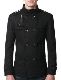 15af795b 49% Off was $107.13, now is $54.99! Doublju Mens Double PEA Wool Half  Trench Coat + Free Shipping