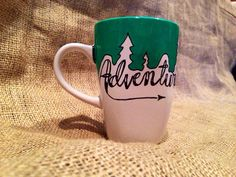 Adventure Coffee Mug - Not All that Wander Are Lost  // 12 oz hand painted design by SeedsOfFaithMom on Etsy https://www.etsy.com/listing/190222786/adventure-coffee-mug-not-all-that-wander