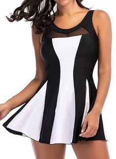 Plus Size Patchwork Mesh Elastic Sports Swimdresses Swimwear For Women is fashionable and cheap, come to NewChic to see more trendy Plus Size Patchwork Mesh Elastic Sports Swimdresses Swimwear For Women online. Plus Size White Swimsuit, Cute Plus Size Swimsuits, 2 Piece Swimsuits, Plus Size Swimwear, Women Swimsuits, Women's Swimwear, Blue Striped Shirt Outfit, Striped Tank, Beverly Hills