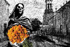 Esta es la postal que hice para la convocatoria del Museo de Filatelia de Oaxaca con motivo de la celebración del Día de Muertos.