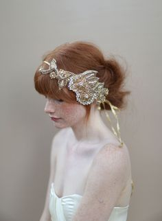 Golden crystal hair wrap - Style #331 (2013, crystal headpiece, hair adornments, headband, headpieces, made to order, twigs and honey, view all) | Headpieces | Twigs & Honey ®, LLC